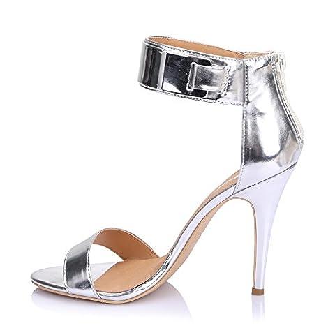 LiKing 23-002 Damen Sandalen Sandaletten High Heels Silber 37