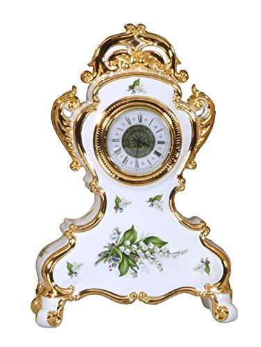 Barocke Luxusuhr aus weiß-goldener Keramik Handgemaltes Detail eines Maiglöckchens Made In Italy