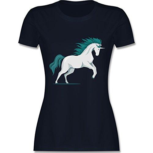 Shirtracer Einhörner - Steigendes Einhorn - Damen T-Shirt Rundhals Navy Blau