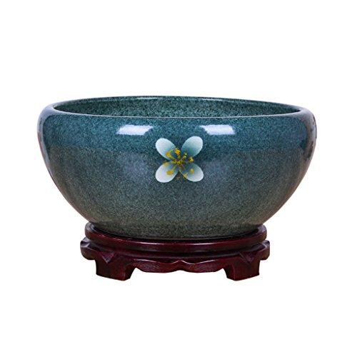 Pot de fleurs BOBE Shop 30~40CM Chinois Style en Céramique avec Plateau/Intérieur Grand Pot De Plante Pot sans Trous Réservoir De Poisson/Planteur Hydroponique Succulent Planteur (Taille : L)