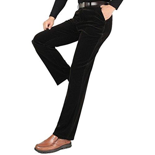 ZKOO Pantalons en Velours Avec Doublure en Peluche Homme Chaud Haute Taille Cotelé Pantalon Droit en Coton (Sans Ceinture) Café