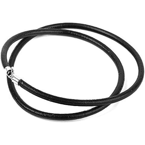 maltonyo172mm 16pollici artificiale in pelle cavo catena lunga collana (Nero) - 16 Collana Della Corda Catena