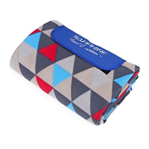 Sapphire SG-03 Picknickdecke (Dreiecke) - Faltbar mit Tragegurt - Große Liegefläche 200x200cm - Wärmeisolierende und schmutzabweisende Unterseite - mit Klettverschluss