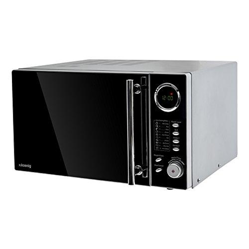H.Koenig VIO9 Mikrowelle  / 900 W / 25L Garraum / Mikrowelle mit Grill und kombinierbaren Kochfunktionen / 10 automatische Garprogramme / schwarz hochglanz