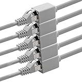 1aTTack.de 618234 CAT7 Cat.7 Verlängerung Adapter - 0,5m - Ethernetkabel Lankabel Netzwerkkabel 10 Gb/s Rohkabel mit (RJ45) Cat6a Stecker Buchse 5 Stück - grau