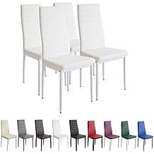 Albatros Milano - Set de 4 sillas de Comedor, Estructura metálica y Piel sintética,