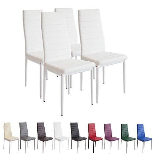 Albatros Milano - Set de 4 sillas de Comedor, Estructura metálica y Piel sintética, Estilo Italiano, Blanco (2552)