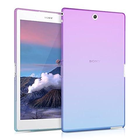 kwmobile Étui transparent pour Sony Xperia Tablet Z3 Compact en silicone TPU coque tablette housse de protection cover avec motif Design deux couleurs en violet bleu transparent