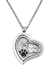 Puppy Dog Paw Print Lover Floating Charms Animal Charity Living Locket Heart Necklace With 18 Chain