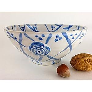 Müslischale weiss mit blauem Pinseldekor Steinzeug Handmade