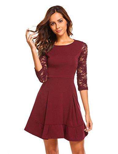 Chigant Damen Herbst Winter Patchwork Spitze Baumwolle Kleid Elegantes Minikleid Brautjungfernkleid Abendkleider Partykleider