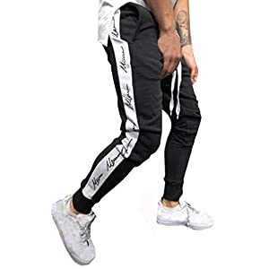 Tomatoa Herren Hose Stripe Pants Jogginghose Sport Fitness Trainingshose Slim Fit Sweatpants Jogging-Hose Trainingshose Jogger Fitness Sport Joggerhose Stoffhose