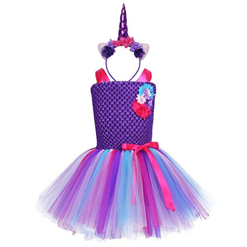 (iEFiEL Einhorn Prinzessin Kostüm für Kinder - komplettes Einhorn Kostüm für Mädchen Kleid mit Einhorn Stirnband Zu Geburtstag Cosplay Kostüm Lila + Lila Haarreif 122-128)