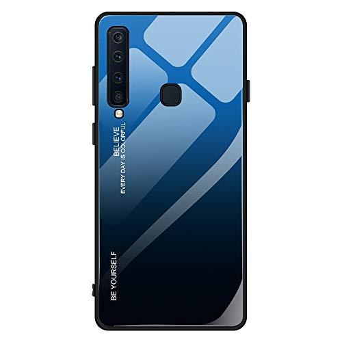Kompatibel mit Samsung Galaxy A9 2018 Hülle,9H Gehärtetes Glas +Silikon Bumper Frame Ultra dünn Spiegel Handyhülle Farbverlauf Back Cover Clear Mirror Case Kratzfest Tasche Schale (Galaxy A9 2018, 7)