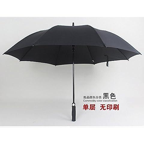 Fibra de 27 pulgadas de largo tallo extra grandes hombres publicidad PARAGUAS paraguas de golf automático negro PARAGUAS paraguas de negocios de mango recto, negro