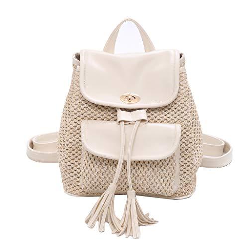 Prada Satchel Bag (Mitlfuny handbemalte Ledertasche, Schultertasche, Geschenk, Handgefertigte Tasche,Neue Damenmode Wild Solid Weaving Tassel Rucksack mit Schultern)