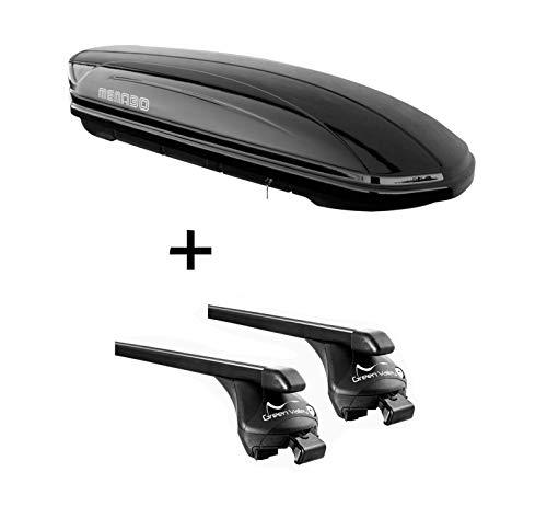 VDP Dachbox MAA 400 Liter + Relingträger Quick Stahl XL kompatibel mit Audi Q5 (8R) (FY) ab 2008