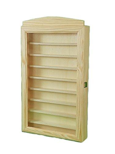 Vitrina expositora para colecciones. En madera de pino en crudo. Se puede pintar. Medidas (ancho/fondo/alto): 30 * 6.5 * 54 cms.
