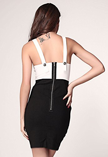 E-Girl femme Noir Blanc SY2962 robe de cocktail Noir Blanc