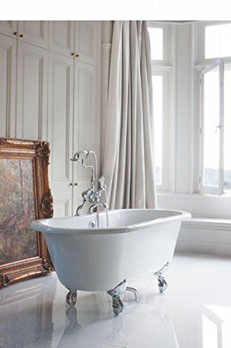 Casa Padrino Jugendstil Badewanne freistehend 1500mm BWin Weiß - Freistehende Retro Antik Badewanne, Badewannen Füsse:Luxury Classic Weiß