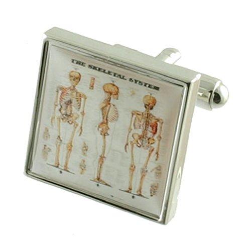 Scheletro, ossa-Gemelli da uomo in argento Sterling 925 solido-Gemelli con incisione personalizzata, incisione