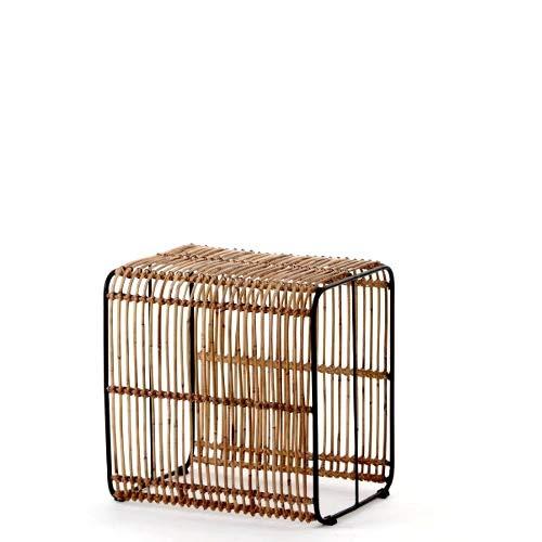animal-design Rattan Tisch Roy (60004) Beistelltisch Fußhocker Würfel Cube Couchtisch Wohnzimmer Natur Design -