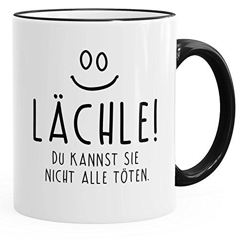 MoonWorks Kaffee-Tasse mit Spruch Lächle Du Kannst Sie Nicht Alle Töten Tasse Büro Kollegen...