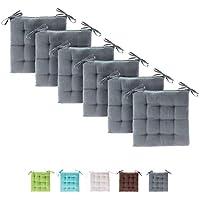 Etérea 6er Set Basic Sitzkissen Stuhlkissen für Innen- und Außenbereich, Grau 40x40x3 cm