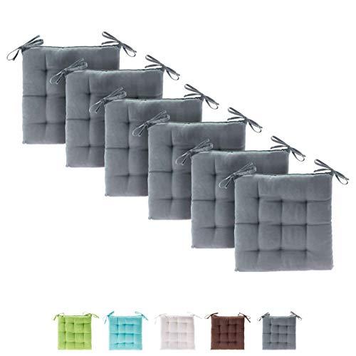 etérea Himmlische Qualität Basic Sitzkissen für Innen- und Außenbereich 40x40 cm Grau 6er Set