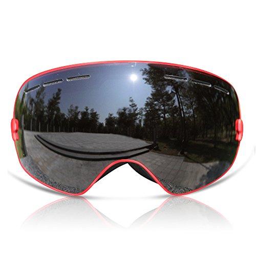GANZTON Skibrille Snowboard Brille Doppel-Objektiv UV-Schutz Anti-Fog Skibrille Für Damen Und Herren Jungen Und Mädchen (Schwarz und Rot)