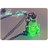 Collar botella brilla en la oscuridad. collar de botella, regalos para ella, regalos para mujeres, colgante vial brilla en la oscuridad, collar fluorescente.