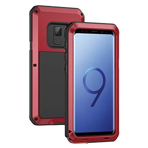 seacosmo Galaxy S9 Hülle, [Tough Armor] Aluminium Doppelte Schutz Stoßfest Schutzhülle für Samsung Galaxy S9, Rot