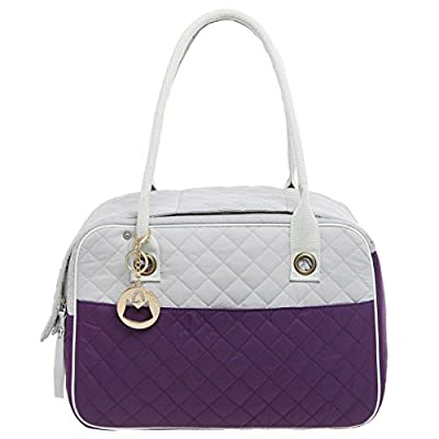 MG Collection Purple / Gray Designer Quilted Soft Sided Travel Dog and Cat Pet Carrier Tote Hand Bag by MyGift