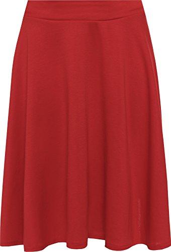 WearAll - Damen Übergröße Einfarbig Ausgestellt Skater Mini-Rock - Rot - 54-56