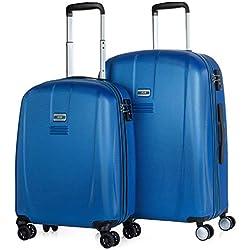 JASLEN - Juego Set 2 Maletas Trolley 55/66 cm ABS Texturizado. Rígidas, Resistentes y Ligeras. Mango telescópico, 4 Ruedas Dobles. Candado Integrado TSA. Pequeña Low Cost 56515, Color Azul