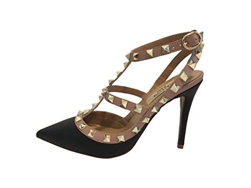 Kaitlyn Pan Zoccoli Donna Nero Black Black Matte/Nude Straps/Gold Studs