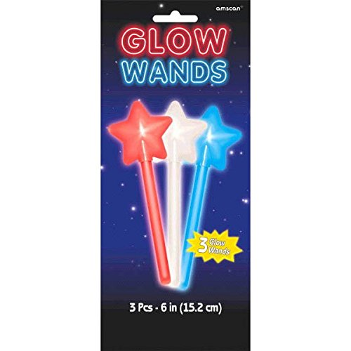 Star Spangled Fourth of July Party Patriotic Red, White and Blue Star Shaped Glow Wand Favours, Plastic, 7