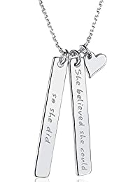 Annis Munn Collar de Plata de Ley 925 Inspirado Grabado She Believed She Could so