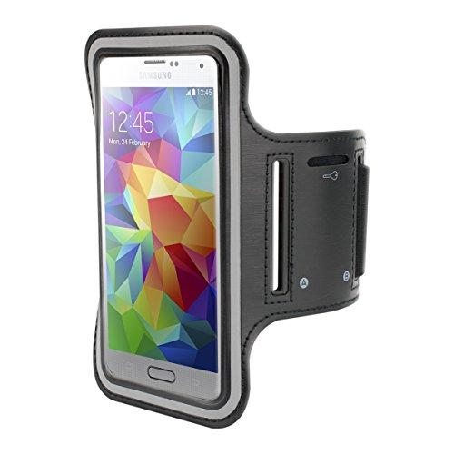 Galleria fotografica kwmobile fascia da braccio sportiva per Samsung Galaxy S5 / S5 Neo / S5 LTE+ / S5 Duos - jogging corsa borsa da sport fascia fitness con scomparto per chiavi nella fascia da braccio in nero