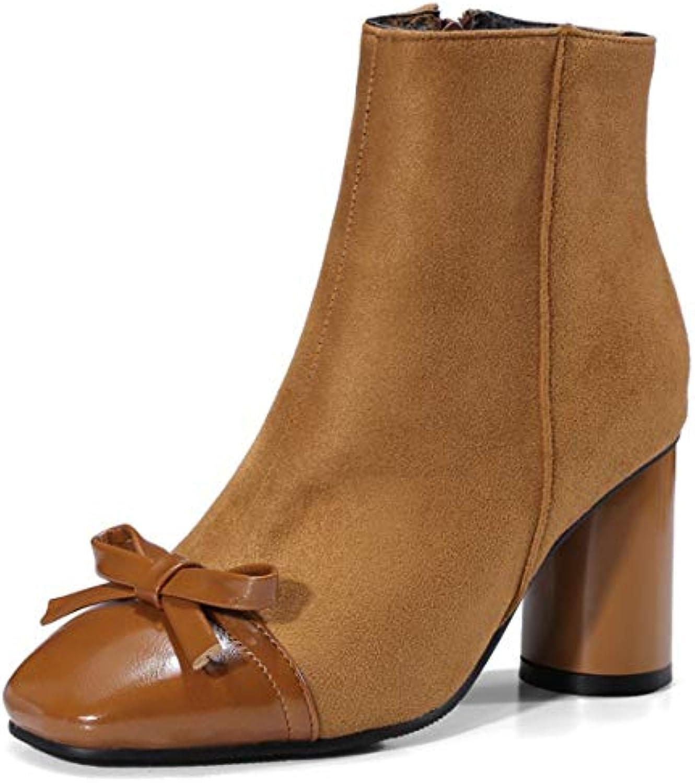 SERAPH scarpe C764 Stivaletti Con Tacco A Blocco Da Donna Con Stivaletti Con Zip A Punta Quadrata | Buon Mercato  | Scolaro/Ragazze Scarpa