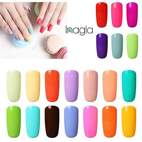 Sommer Farben (Inagla Macaron Farben Nagellack Sommer Collection Gel Nail Polish Gellack UV LED Soak Off für Maniküre Gel Nail Polish Nail Design 15ML 20PCS)