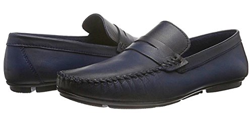 CAPRIUM Herren Leder Mokassins Slipper Loafer, Premium Qualität Dunkelblau