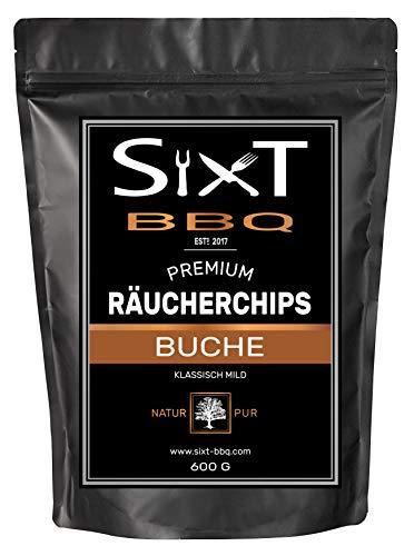 Sixt-BBQ I Räucherchips Buche Premium I Wood-Chips für Kugel-Grill & Barbecue, Raucharoma durch Holz-Späne I 100% natürlich milder Geschmack, für Gas/Smoker/Kohle-Grill I 600g