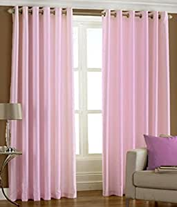 Super India Plain Faux Silk 2 Pieces Eyelet Long Door Curtain, Polyester Plain Ringtop - 4 x 9ft in Baby Pink