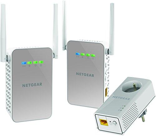 NETGEAR PLPW1000T-100FRS Pack de 3 CPL 1000 Mbps dernière génération - 1 CPL Filaire avec prise Filtrée + 2 CPL Wifi