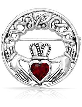 Bling Jewelry 925 Silber Celtic Irish Claddagh Brosche Pin Herz in Rubin CZ
