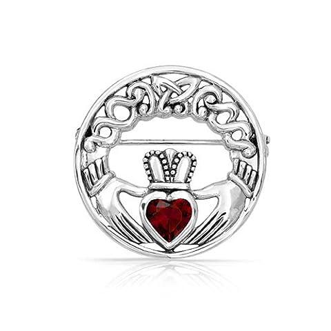925 Silver Celtic Claddagh Brooch Simulated Ruby Heart CZ