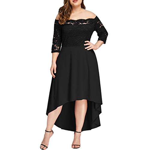 WUSIKY Kleid Damen Plus Size DREI Viertel Schulterfrei Boho Spitze Langes Kleid Abend Party Kleid Flare Kleid Minikleid Midi Kleid Retro Vintage Elegant Casual Women Dress(XXX-Large,Schwarz) -