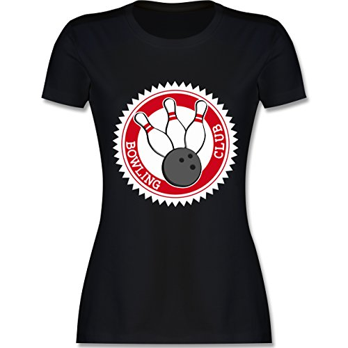 Bowling & Kegeln - Bowling Club Badge Abzeichen - tailliertes Premium T-Shirt mit Rundhalsausschnitt für Damen Schwarz