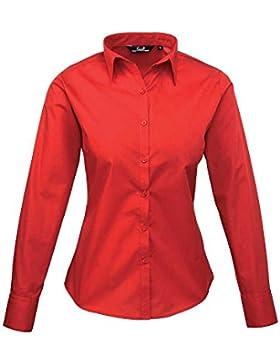 Premier Womens Poplin Long Sleeve Formal Work Blouse Shirt
